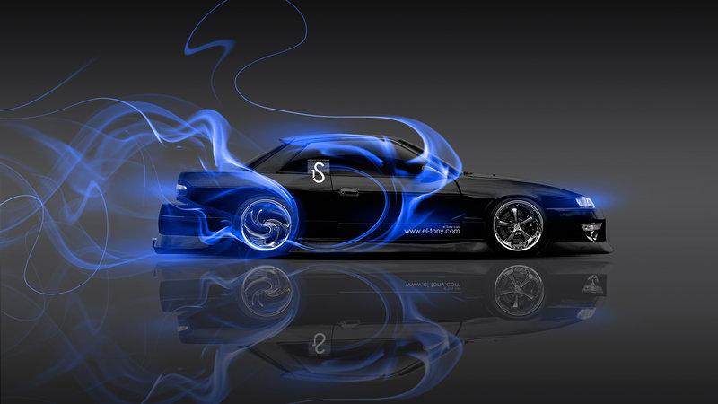 Nissan Silvia S13 JDM 240SX Blue Smoke Drift