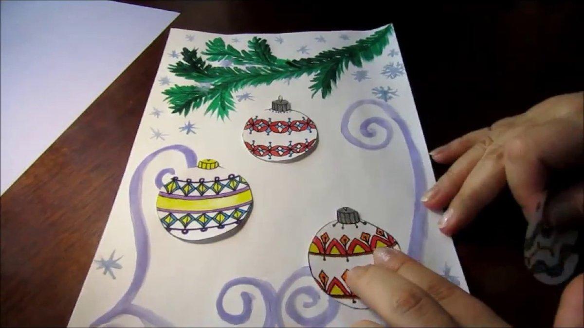 Новогоднюю открытку нарисовать своими руками, картинки