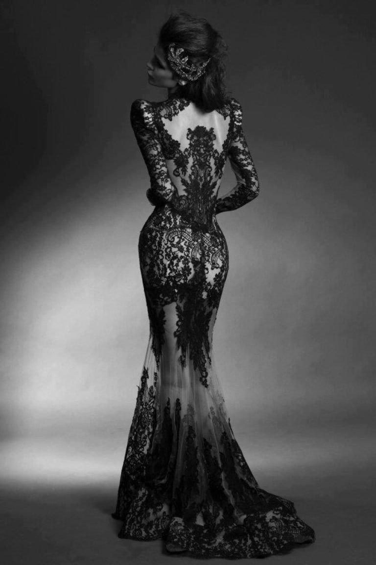 Красивые картинки девушки в черно-белом платье