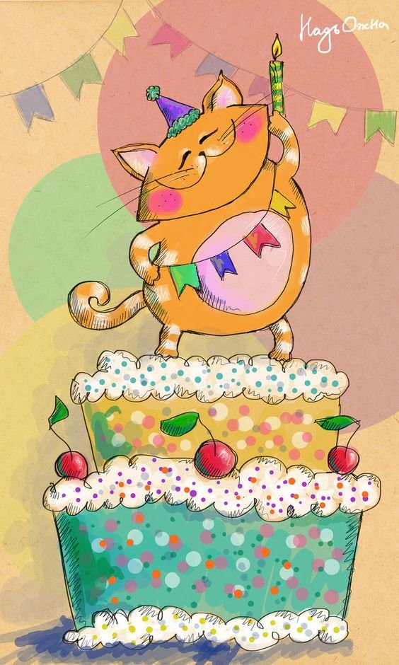 С днем рождения открытка кот одноклассники, картинки внешности