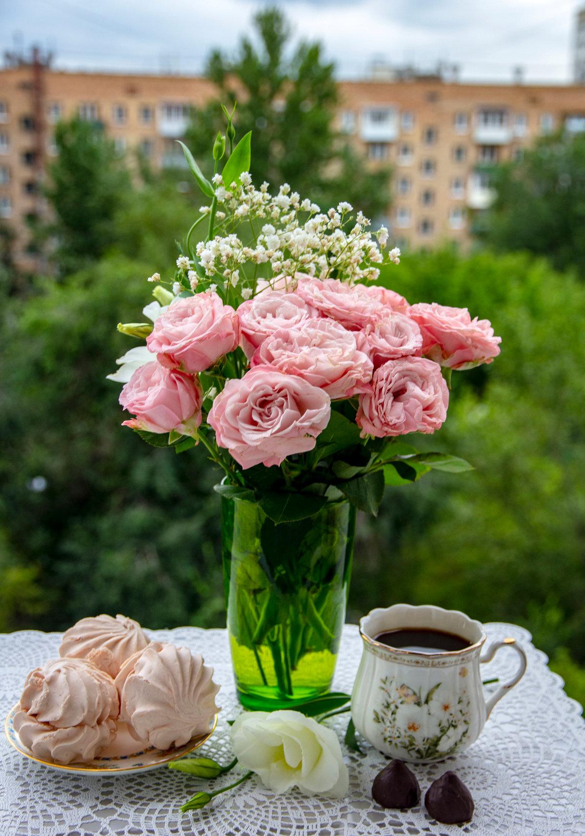 Онлайн, картинки утренние розы