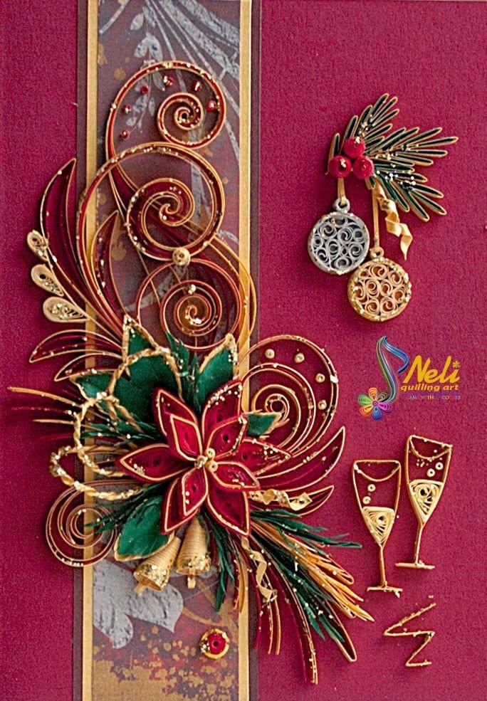 Новогодние открытки из квиллинга фото