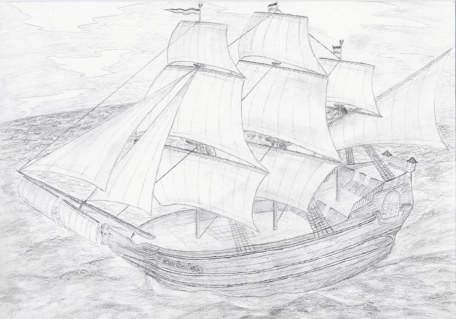 Корабли картинки рисованные карандашом