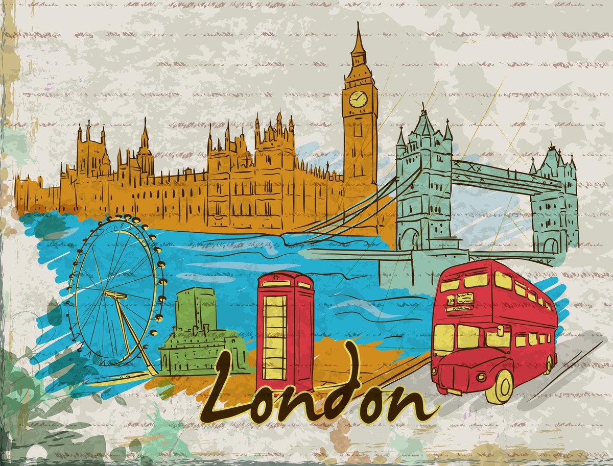 монохромный открытки на английском из разных странах стоит