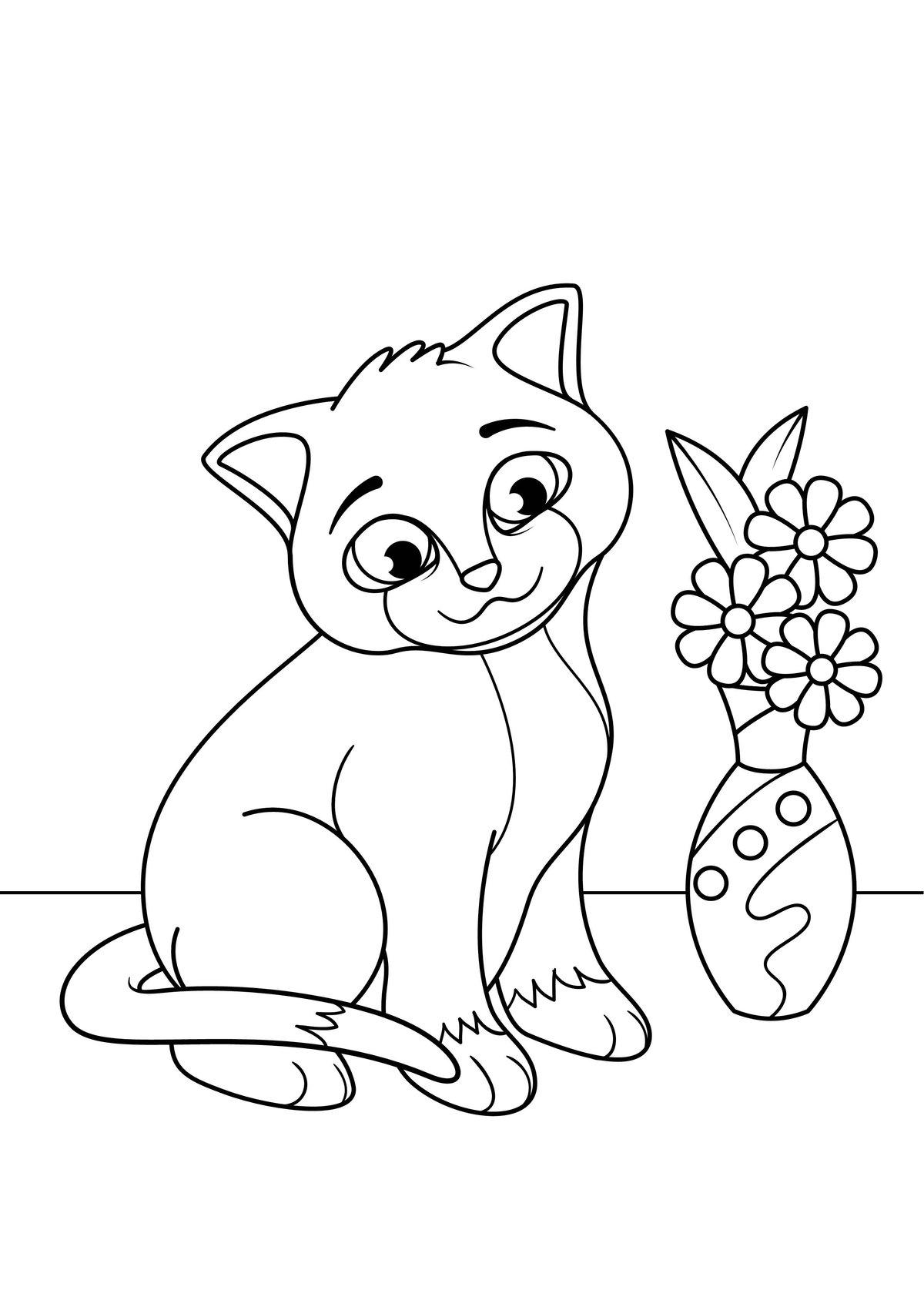 начала картинки раскраски кошки и картинки когда