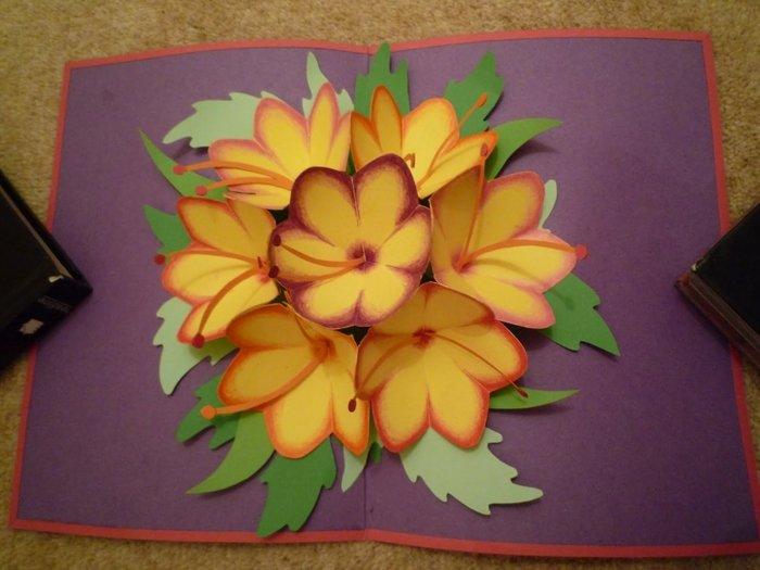 Открытки своими руками цветки объемные, рамки для