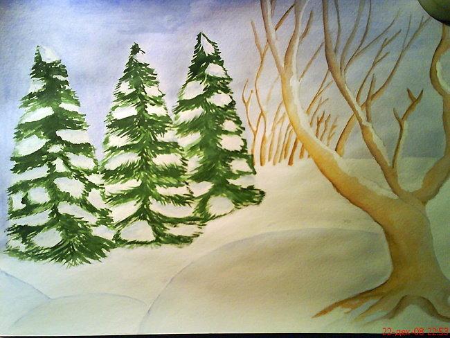 лес зимой рисунок легкий тебя будут
