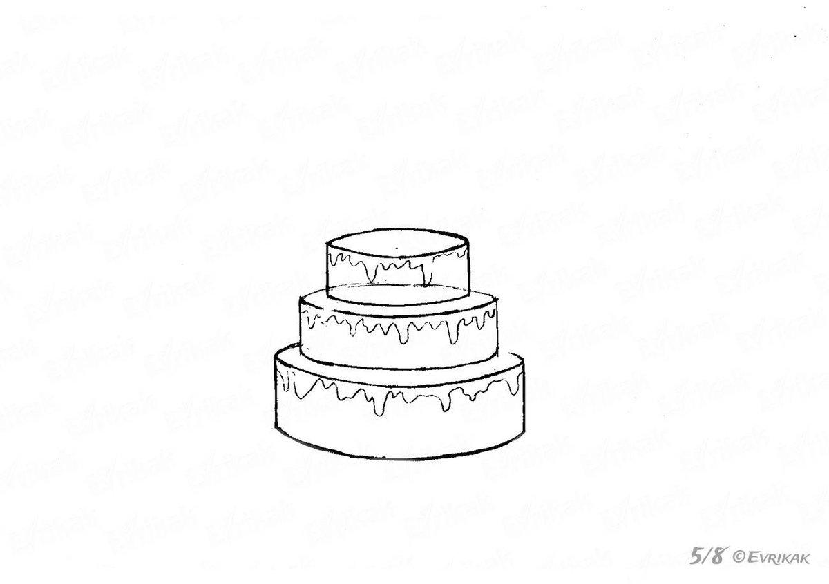 картинки как нарисовать торт карандашом поэтапно найдете