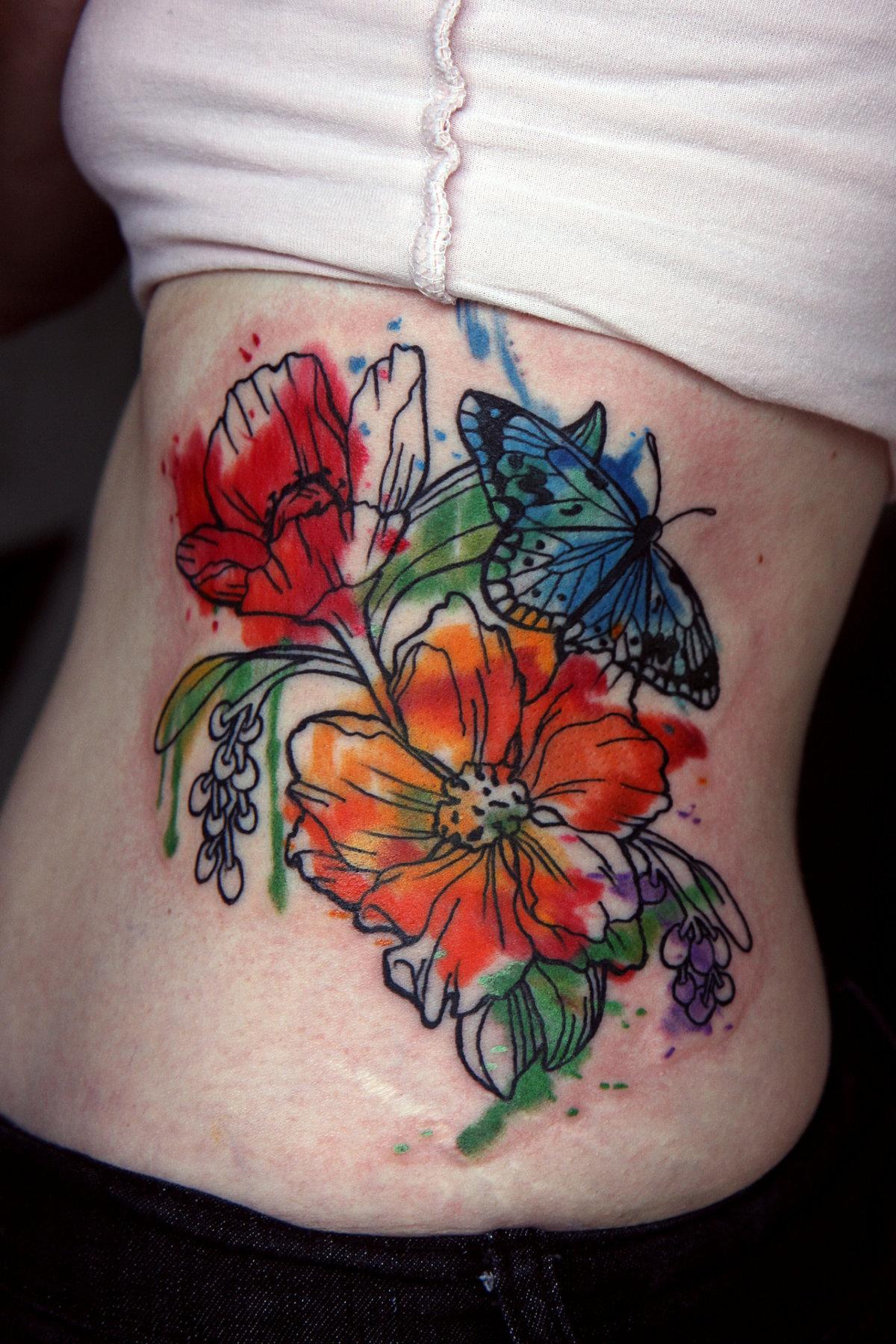 watercolor tattoo flower - HD1200×1800