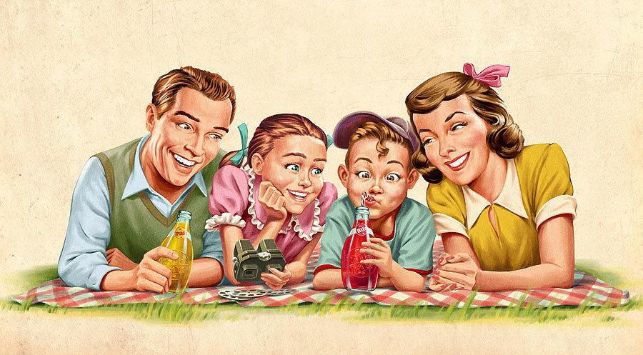 Рисунки семья прикольные