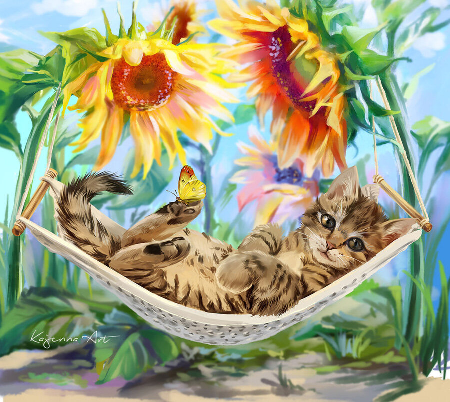 Открытки коты отдыхают