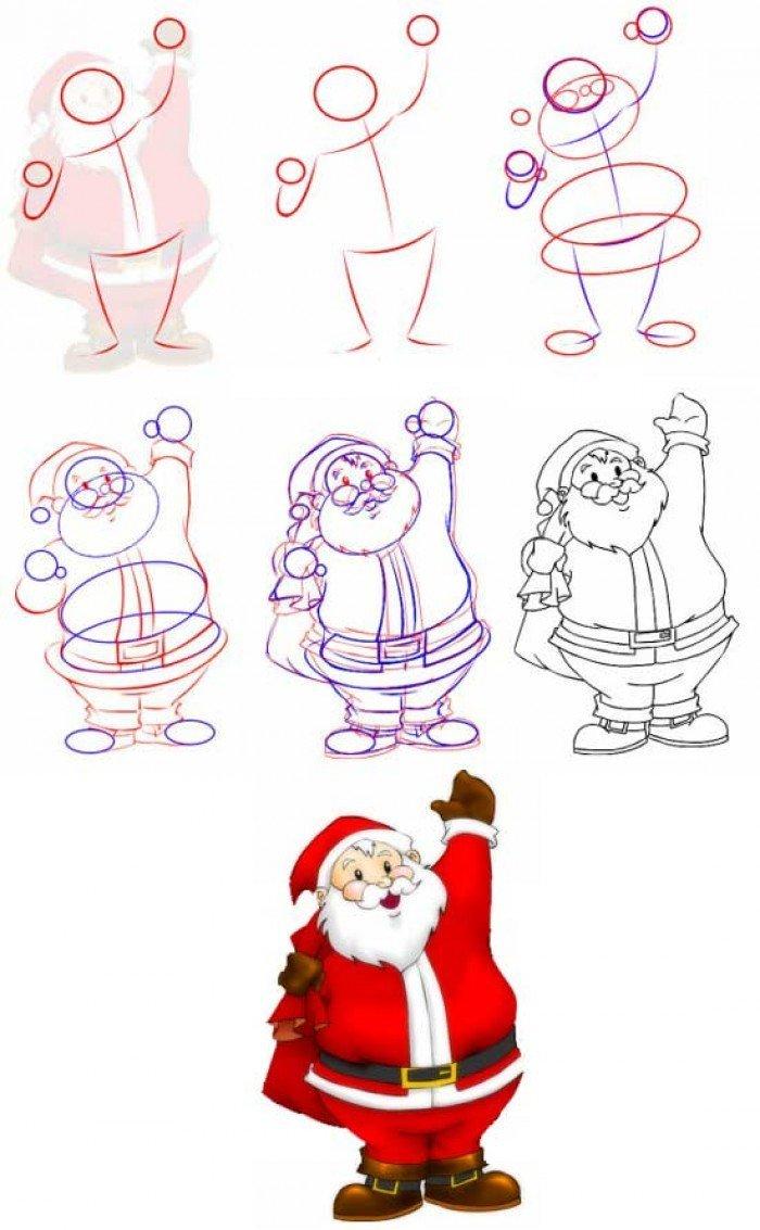 Как нарисовать пошагово новогоднюю открытку