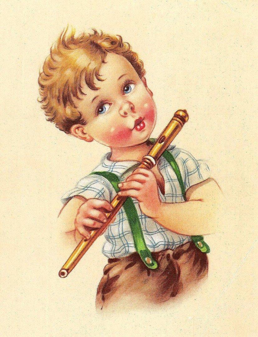 Новый год, музыкальная открытка ретро