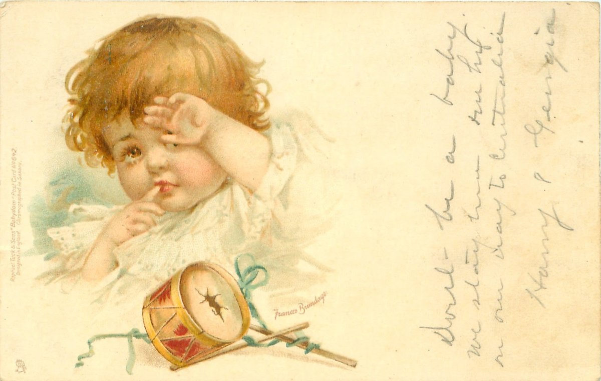 Дети с игрушками на старинных открытках
