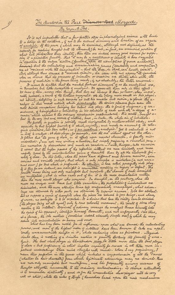 20 апреля 1841 г. Опубликован первый в истории литературы детективный рассказ «Убийство на улице Морг» Эдгара По