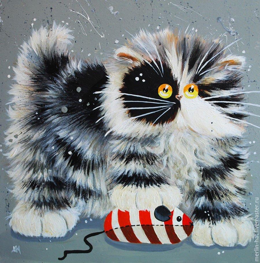 Теме, смешной кот рисунок красками