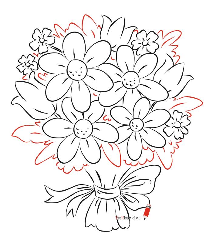 Букеты цветов в картинках карандашом