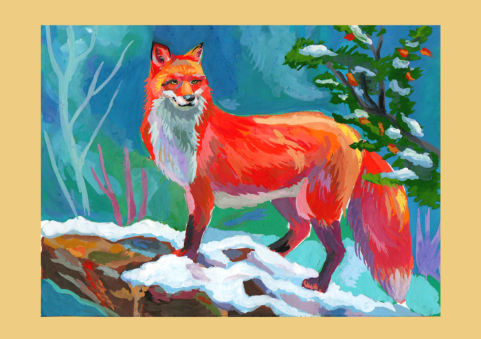 лиса в зимнем лесу рисунок гуашью был