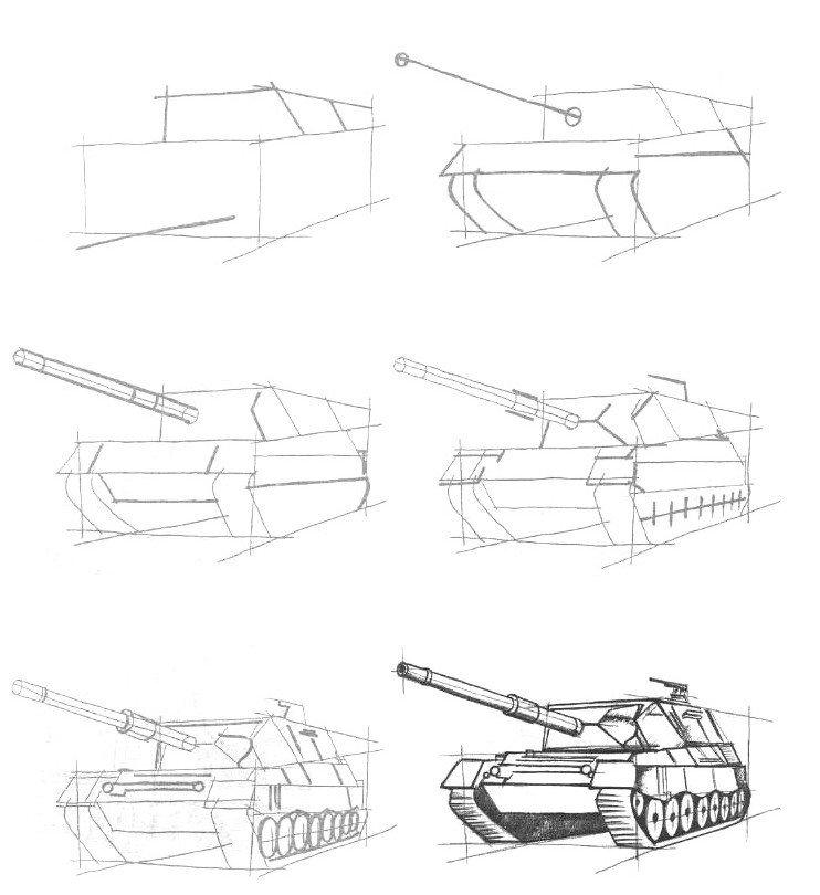Картинки военные танки карандашом