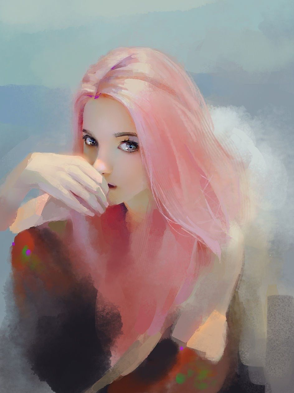 Image result for pink hair girl painting
