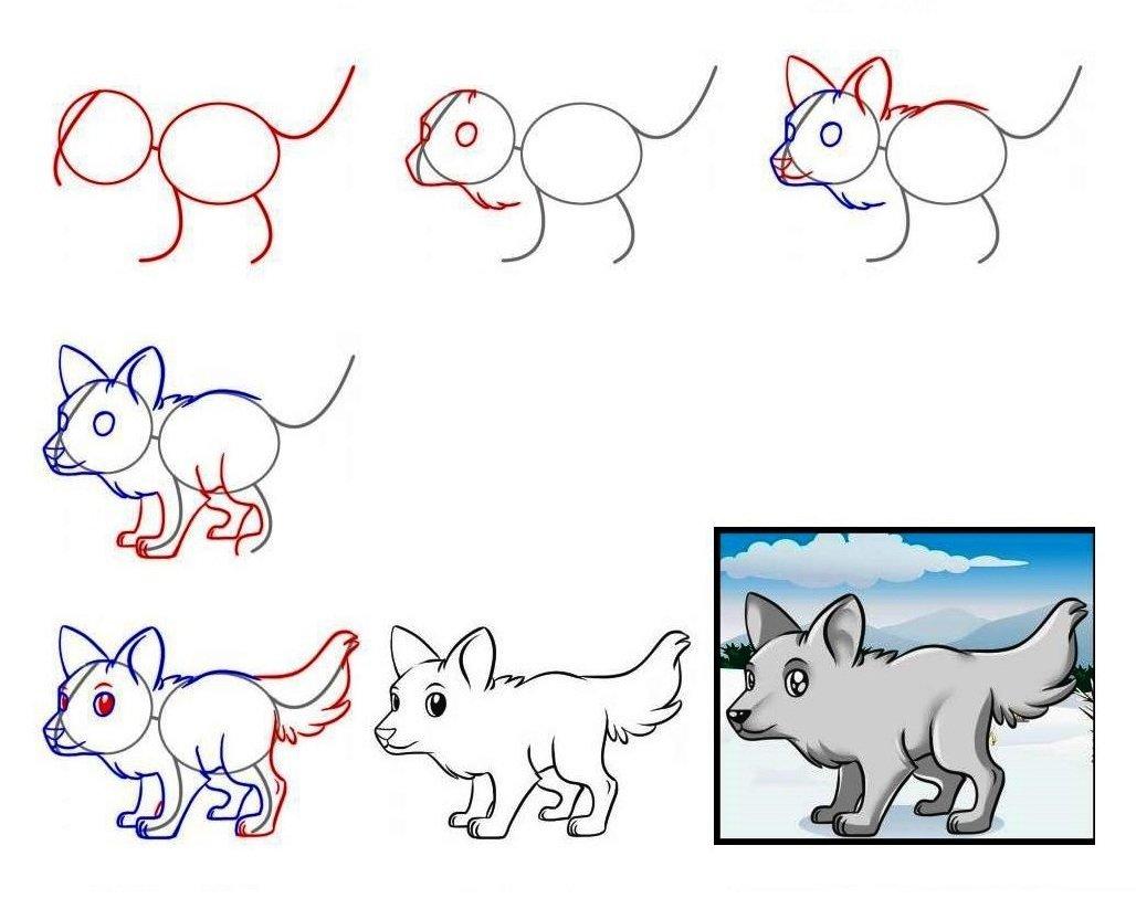 Схема рисовать волка