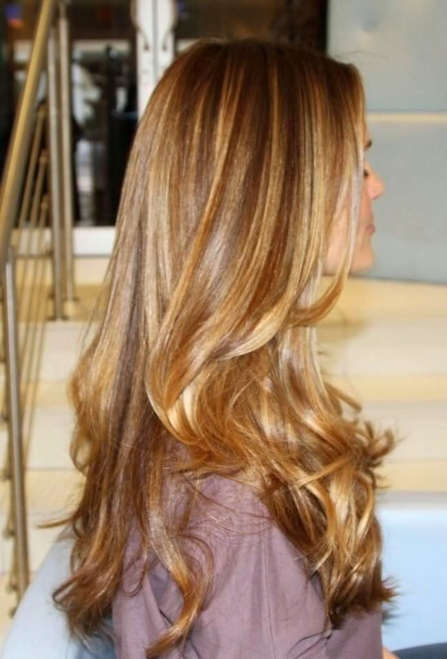 Мелирование на карамельные волосы фото