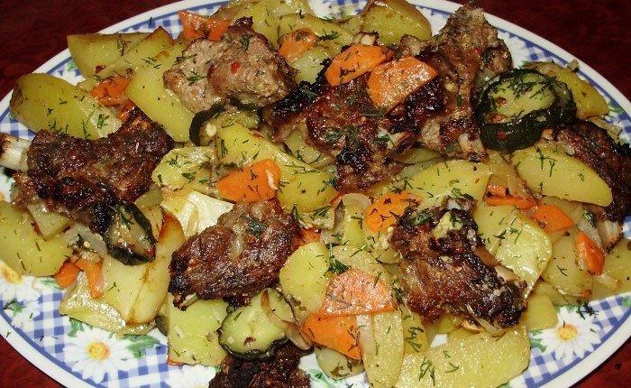 Запеченная свинина с картошкой и грибами