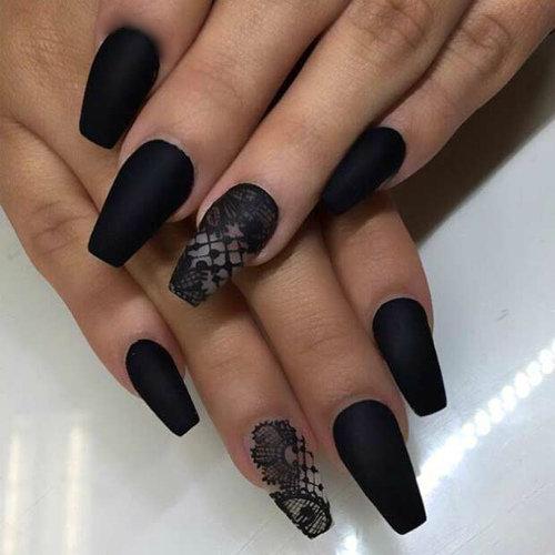 Роспись ногтей черным фото