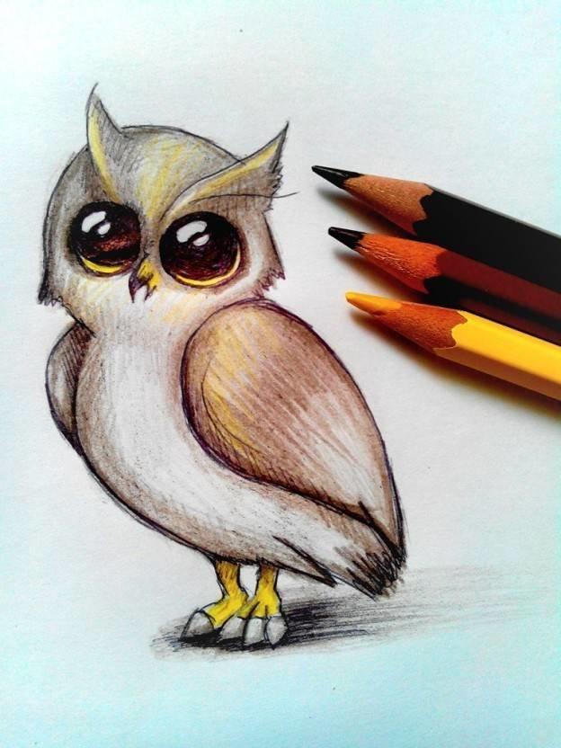 Прикольные, прикольные легкие рисунки цветными карандашами