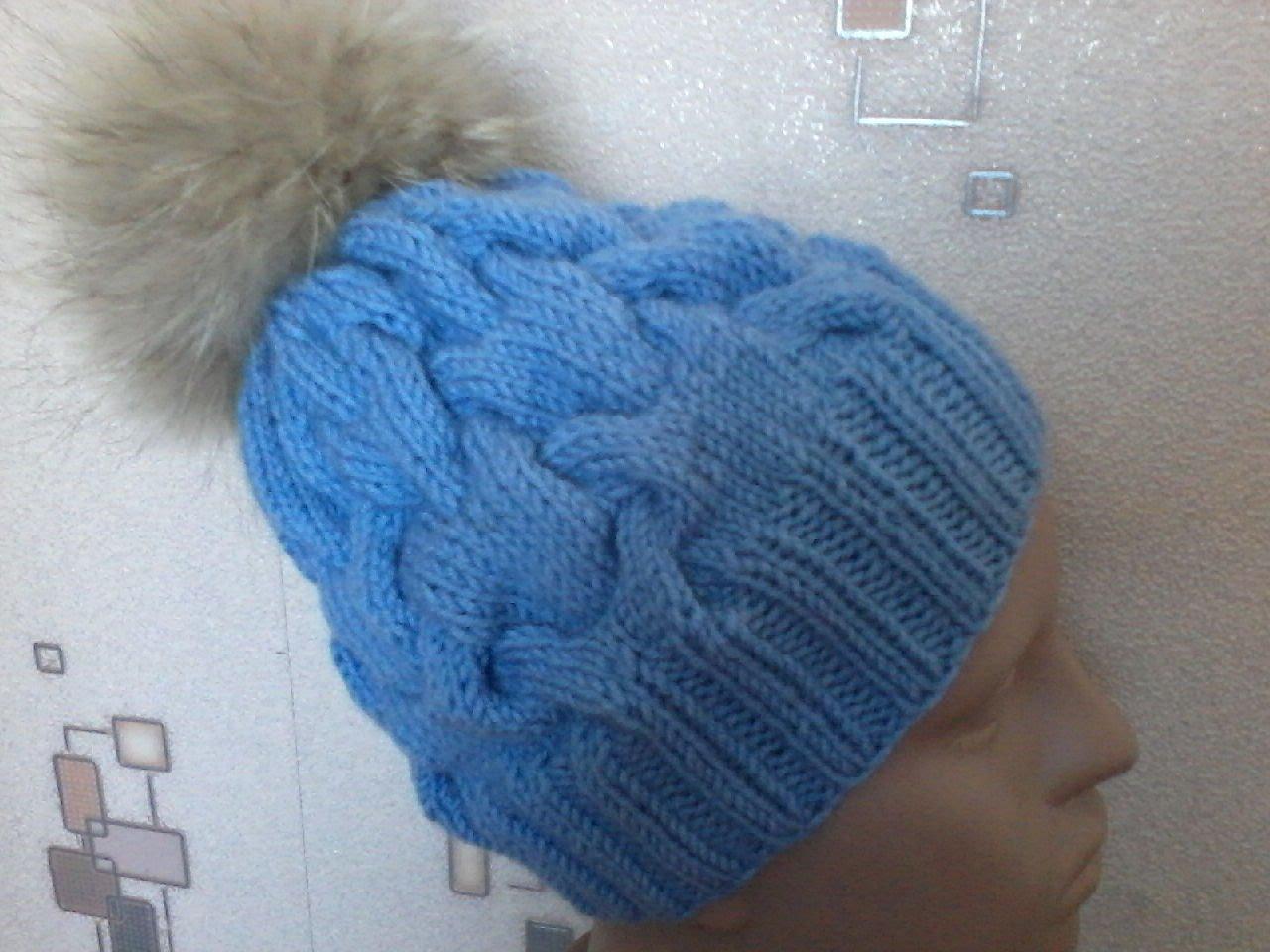 вязание шапки с объемными косами на спицах карточка