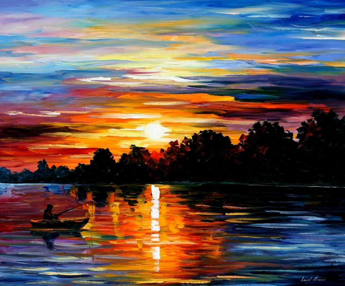 Закат на море картинки красками, пара моря