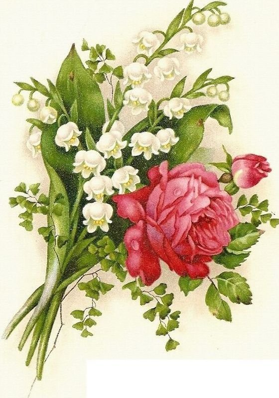 Цветы на старинных открытках, цветы