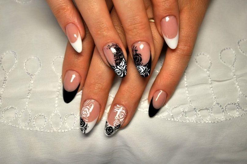 Черно белый маникюр на овальных ногтях фото