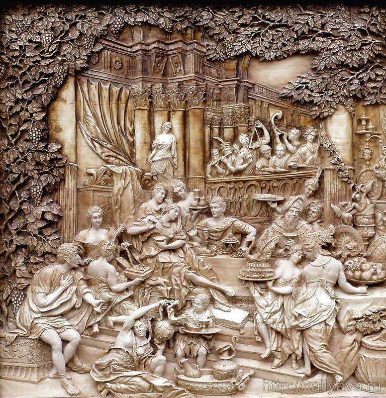 Художественная резьба по дереву - Пир Клеопатры.