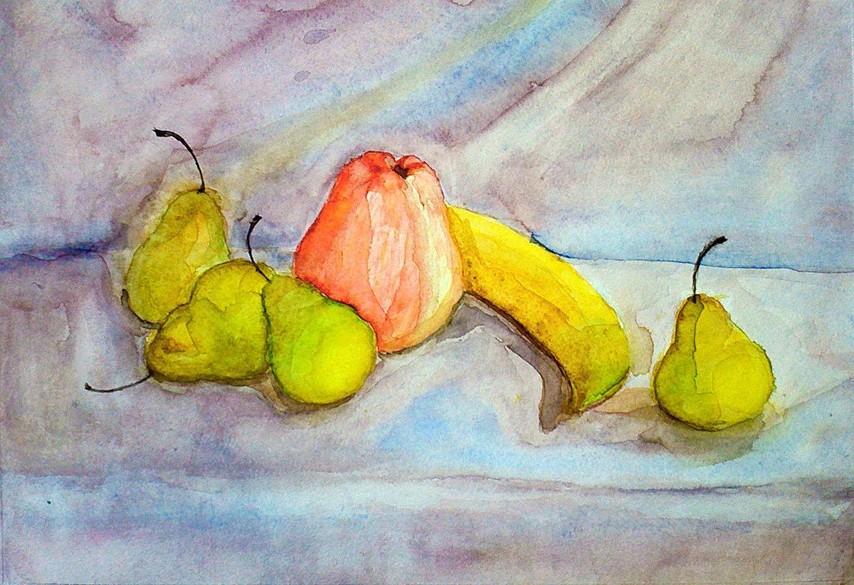 для картинки для рисования натюрморта из фруктов задействуют
