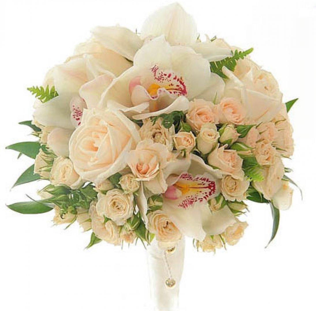 Подарочный букет из орхидей свадебный, лент хризантемы оформление
