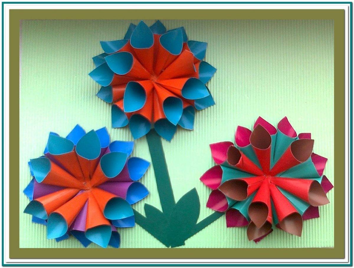 Елена николаевна, сделать открытку из цветной бумаги цветы