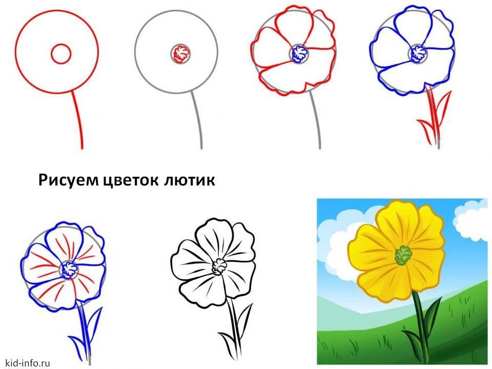 Открытки с цветами поэтапно, картинки контра