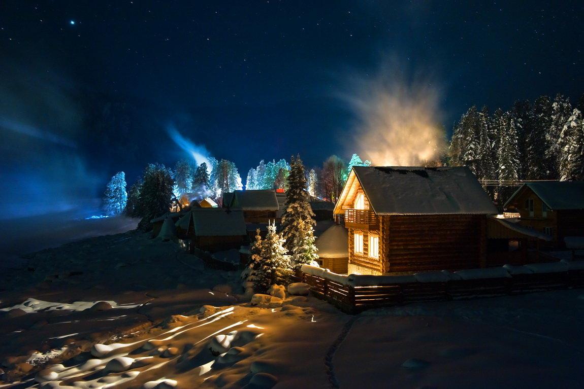 Курорты зима лес картинки ночь