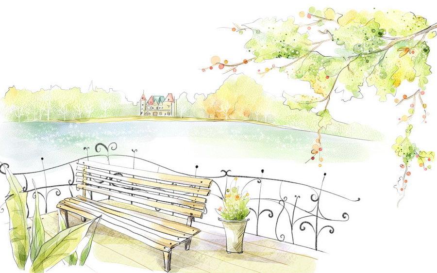 лето природа рисунок карандашом