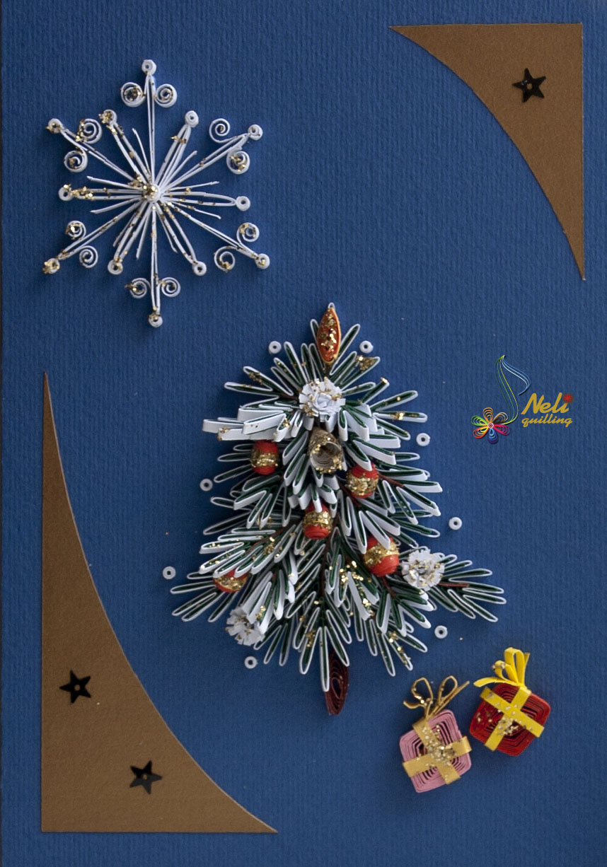 Квиллинг открытка новый год рождество, надписью лучшей