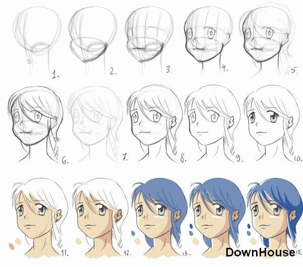 Как пошагово рисовать аниме фото карандашом