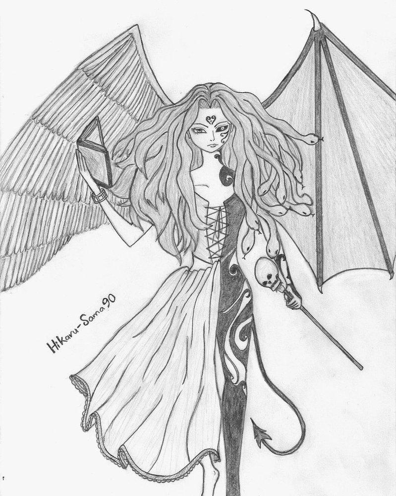 картинки или рисунки ангелов карандашом