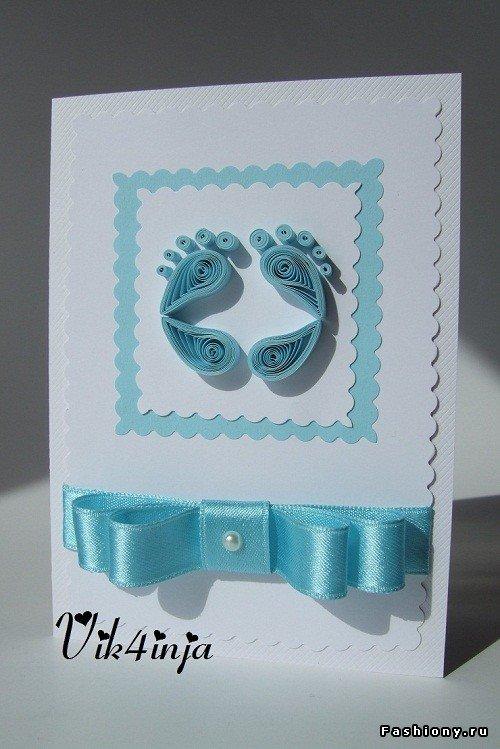 Квиллинг открытка к рождению сына