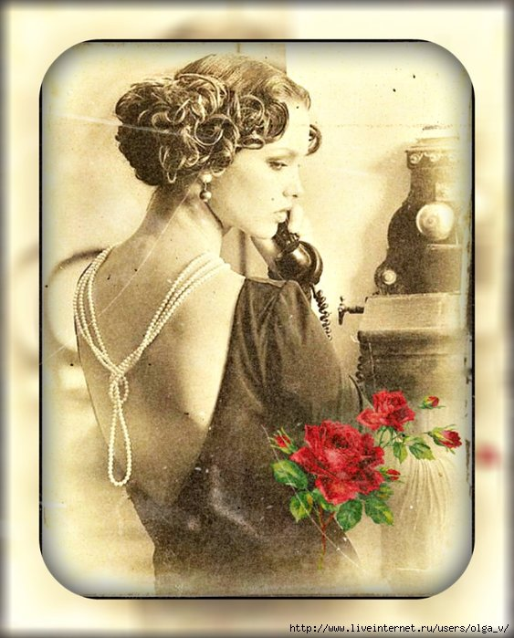 Ретро открытка с телефоном