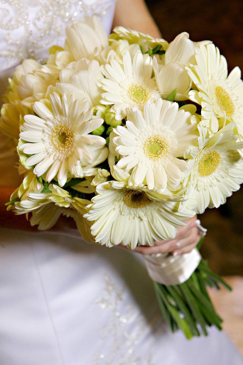 Цветов, свадебный букет белая герберы фото