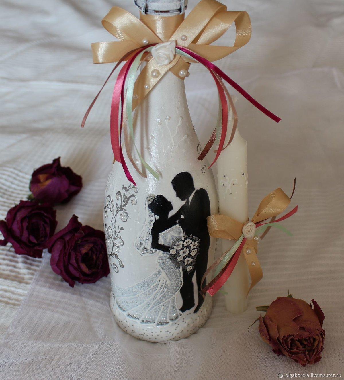конце картинки украсить бутылку шампанского на свадьбу была краткая