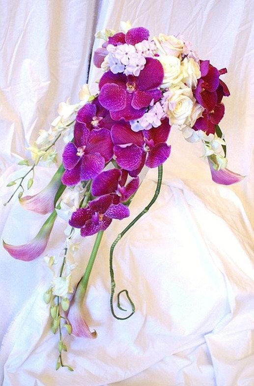 Букет, европейские букеты из орхидеи каскадом