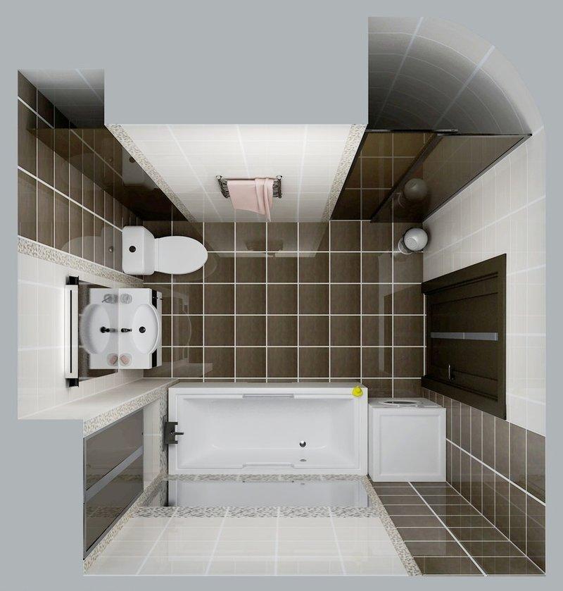 Стильный минимализм и контраст - основные приемы в данном оформлении маленькой ванной.