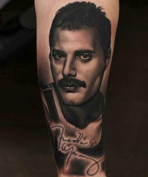 Freddie Mercury Portrait Tattoo Here Is A Freddie Mercury Portrait